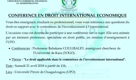 CONFERENCE EN DROIT INTERNATIONAL ECONOMIQUE